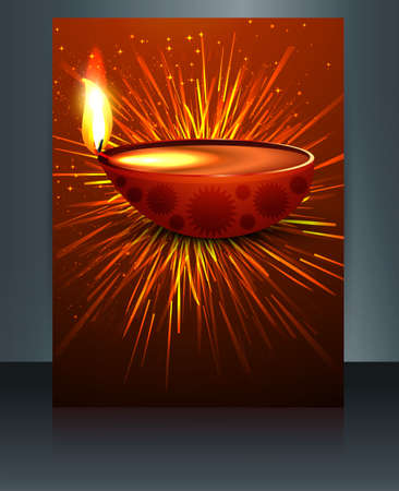 Fantastic colorful diwali diya template brochure vector  Vector