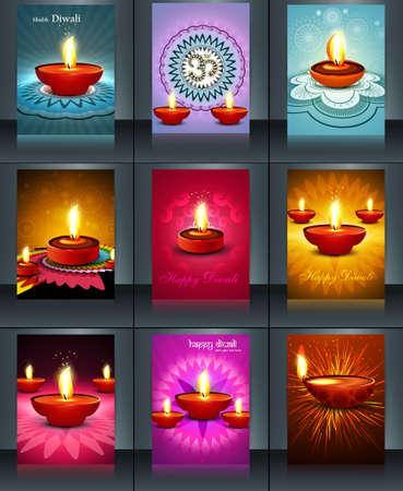 an oil lamp: Hermosa 9 colección de plantillas colorido folleto de diseño de ilustración