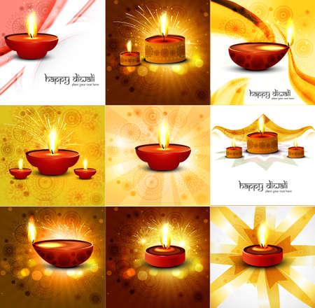해피 디 왈리 아름다운 9 컬렉션 프레 젠 테이션 화려한 힌두교 축제 배경 일러스트 레이션 벡터