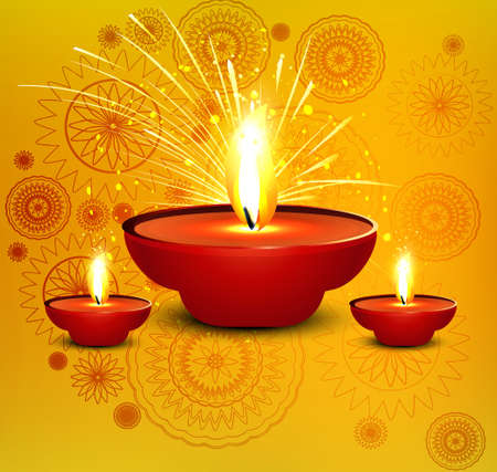 Religious diwali card beautiful diya design illustration Vector