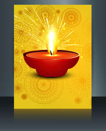 illustration of burning diwali diya template reflection vector Vector