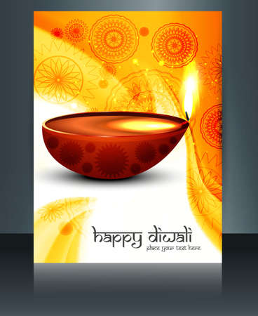 Diwali with beautiful lamps on artistic brochure template design vector Vector