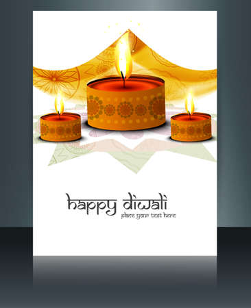 Diwali colorful celebrating oil lamp brochure template vector illustration Vector
