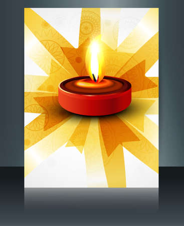 Diwali oil lamp colorful template reflection brochure design vector Vector