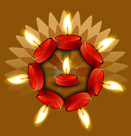 Beautiful Diwali colorful Oil Lamp vector design Vector