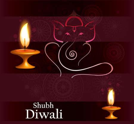 shubh diwali: Beautiful  Hindu Lord Ganesha colorful vector illustration
