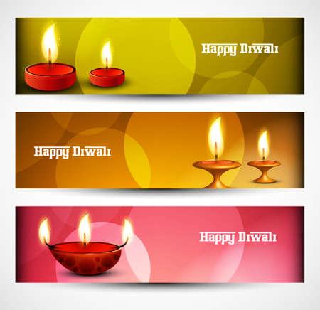 Beautiful Happy diwali three headers set illustration vector Vector