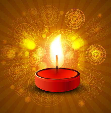 Beautiful diwali lamp colorful vector background illustration Vector