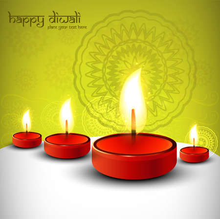 Diwali festival with beautiful lamps background vector Vector