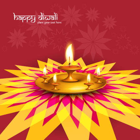 Beautiful diwali greeting card rangoli colorful fantastic background