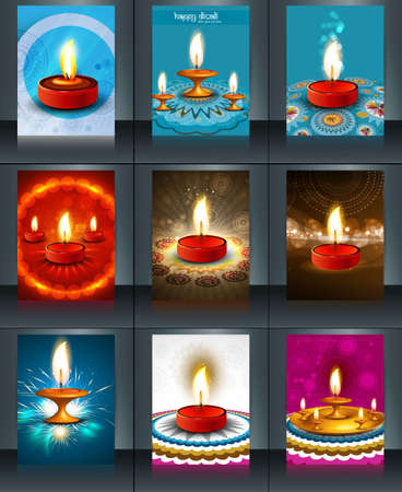 Beautiful template diwali 9 collection colorful brochure vector illustration Vector