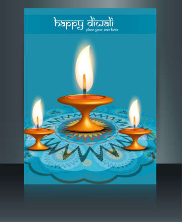 Beautiful diwali card reflection blue colorful brochure template  Vector