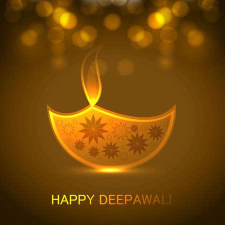 candil: Festival de Diwali Tarjeta de felicitaci�n colorida ilustraci�n de fondo Vectores