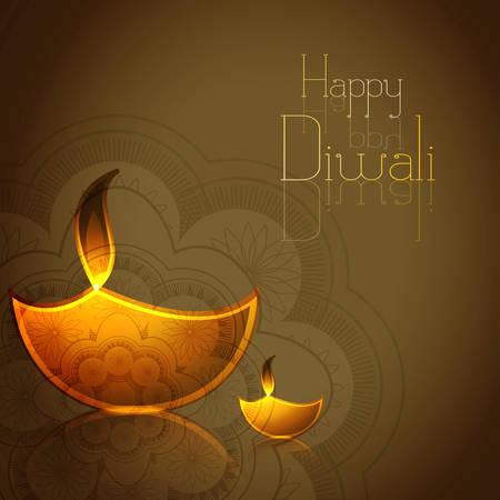 Hindu festival Diwali illuminating Diya colorful vector illustration Vector