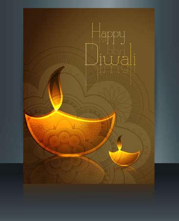Beautiful diwali card reflection brochure template illustration Vector