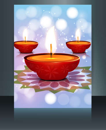 Beautiful card Brochure template diwali vector Vector