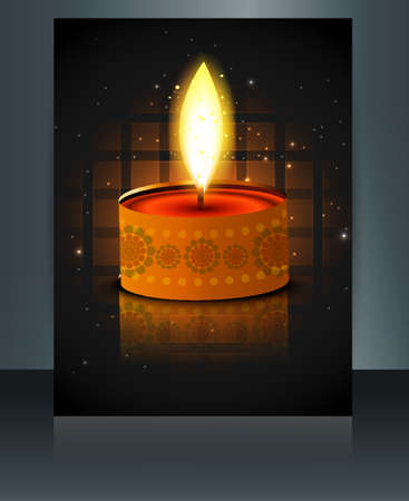 Greeting card diwali reflection colorful brochure template vector  Vector