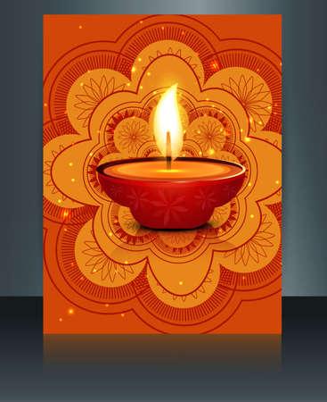 diwali celebration: Happy diwali celebration brochure card template reflection vector