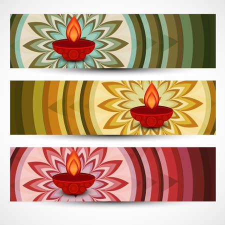 Beautiful diwali rangoli colorful set of headers vector design Vector