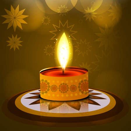 Vector Diwali lamp beautiful rangoli art background Vector