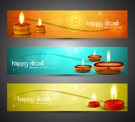 indian festival: Beautiful religious colorful happy diwali headers set design vector illustration Illustration