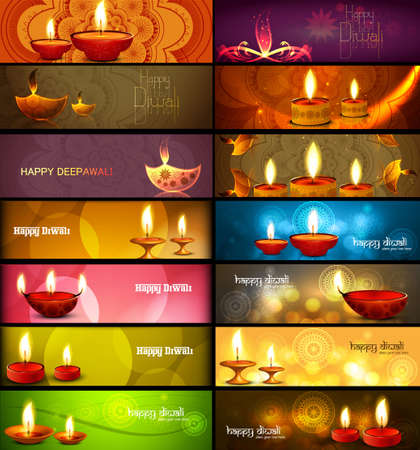 Happy diwali stylish bright colorful collection headers set of vector