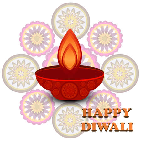 Diwali colorful Beautiful rangoli design vector illustration Vector