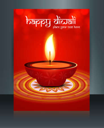 beautiful diwali celebration brochure card template  Vector