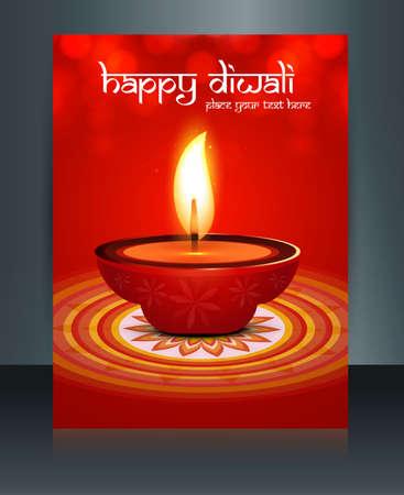 diwali celebration:  beautiful diwali celebration brochure card template