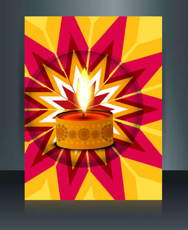 diwali brochure template beautiful lamps illustration Vector