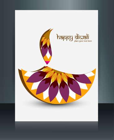 Diwali artistic colorful celebrating brochure template