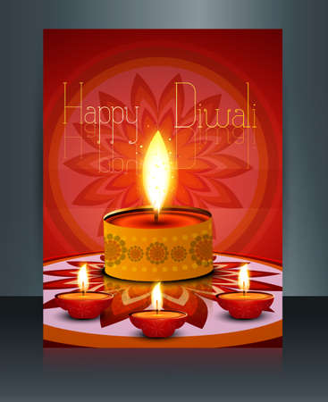 Diwali with beautiful lamps on artistic brochure template  Vector