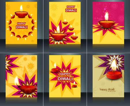 Template diwali diya design brochure card celebration collection  Vector