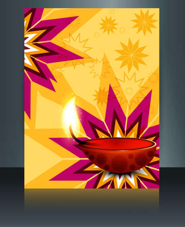 Beautiful Artistic diwali diya card brochure celebration template  Vector
