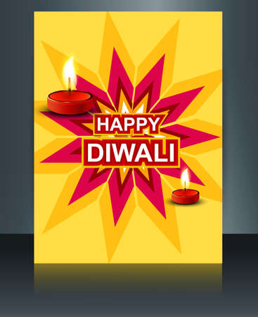 Brochure Happy diwali template festival colorful design Vector