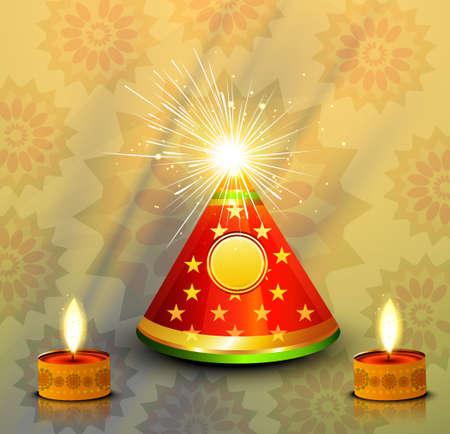diwali celebration:  beautiful diwali celebration crackers illustration