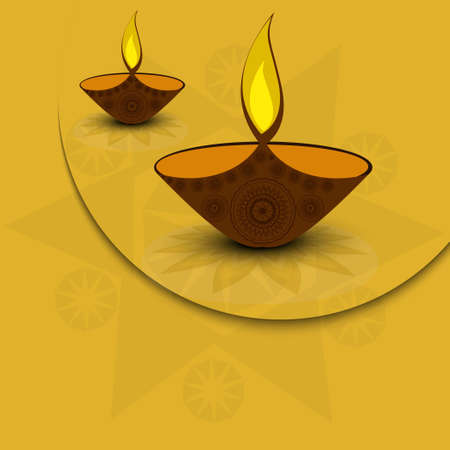 oil lamp: diya ilustraci�n art�stica de Diwali Holiday colorido Vectores