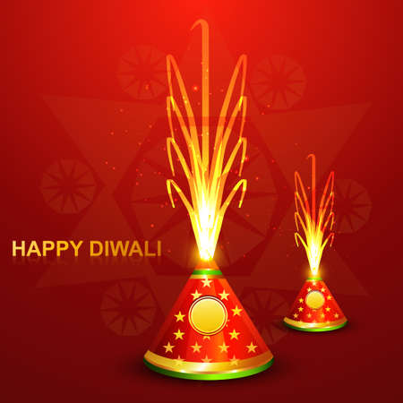 Beautiful diwali crackers hindu festival bright colorful  Vector