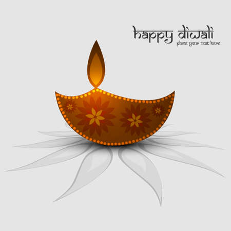 oil lamp: vector diwali card design illustration Illustration