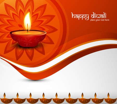 vector hindu happy diwali festival colorful wave decoration celebration card illustration Vector