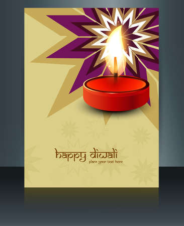 Beautiful Brochure diwali template reflection colorful celebration vector Vector