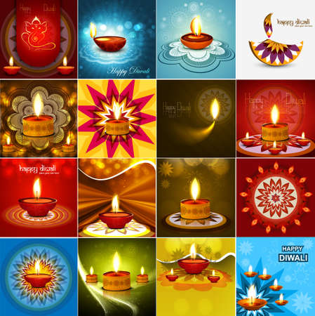 Vector beautiful diwali diya celebration 16 collection card vector Illustration