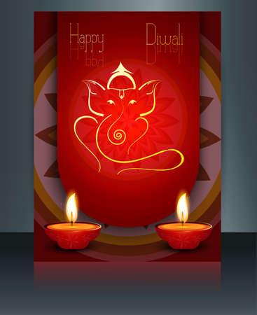 Beautiful Artistic colorful Hindu Lord Ganesha brochure template vector illustration  Vector