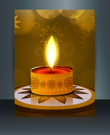 Card Brochure Beautiful template diwali illustration  Vector