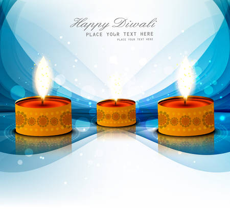 Diwali festival with beautiful diya colorful wave vector illustration