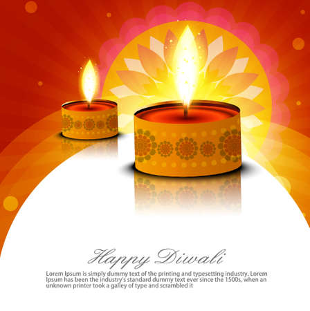 Beautiful religious oil lamp with diwali diya elements fantastic colorful background Illustration