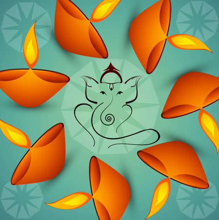 Beautiful Artistic colorful  Hindu Lord Ganesha background  Vector