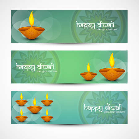 Beautiful artistic diwali bright colorful set of headers vector Vector
