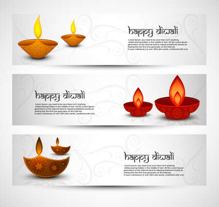 Happy diwali colorful set of headers vector illustration Vector