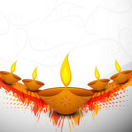 Beautiful colorful religious for Diwali diya vector celebration illustration Vector